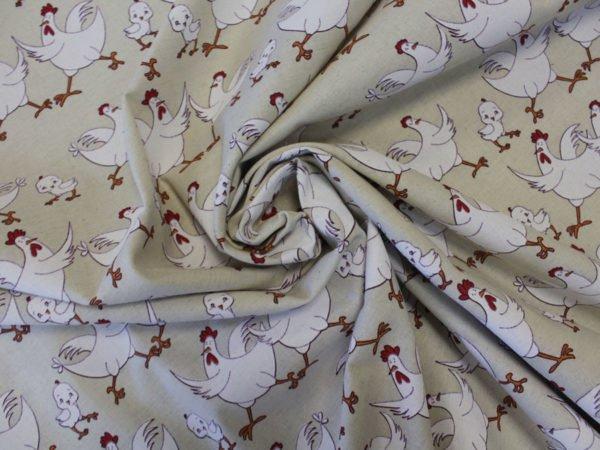 """Фото 5 - Ткань льняная набивная """"Петушки - курочки"""" белые (фон суровый)."""