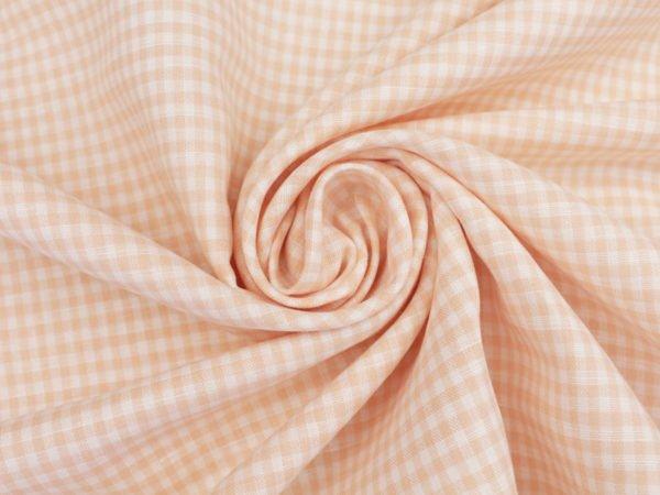 Фото 5 - Ткань льняная, мелкая розовая  клетка.