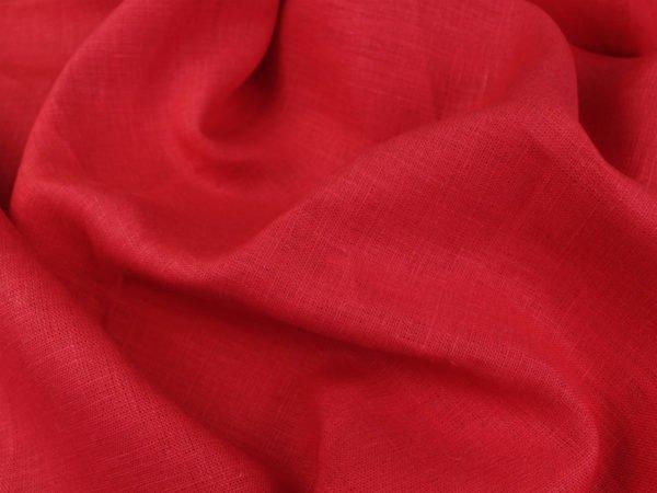 Фото 7 - Ткань льняная плотная,  лен 100%, красная.