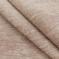 Льняная ткань  светло-коричневая, меланж , ширина 2.6м лен 100%