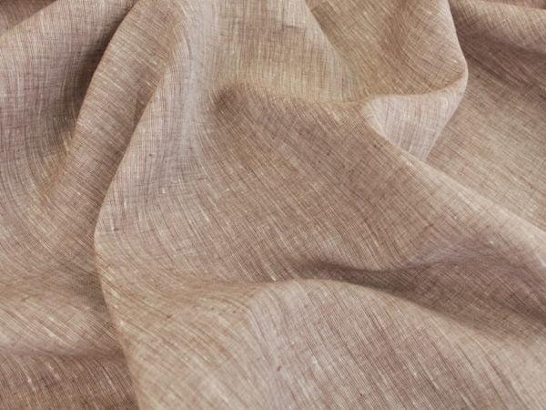 Фото 4 - Льняная ткань  светло-коричневая, меланж , ширина 2.6м лен 100%.