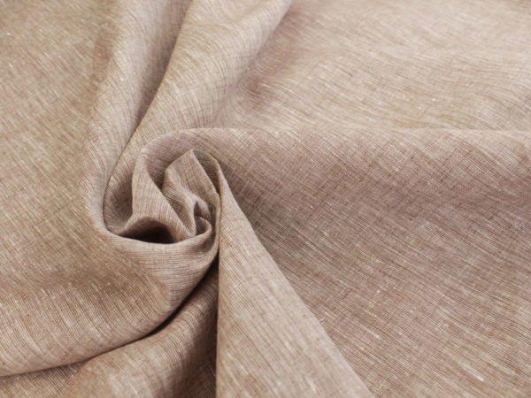 Фото 8 - Льняная ткань  светло-коричневая, меланж , ширина 2.6м лен 100%.