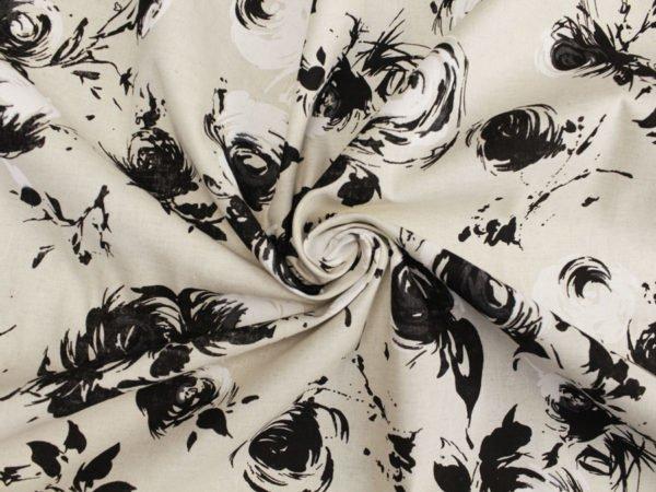 """Фото 10 - Ткань льняная """"Черные розы""""."""