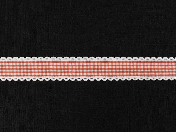 Фото 3 - Лента декоративная 25мм, клетка красный/белый.