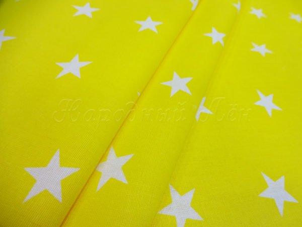 """Фото 3 - Бязь плательная """"Звёздочки"""" на желтом."""
