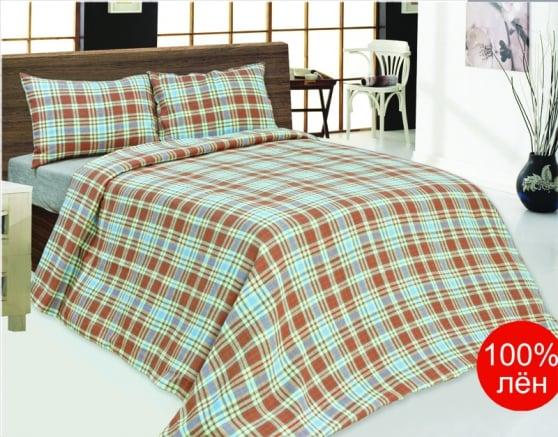 Фото 3 - Комплект постельного белья 220*210 лен 100% (простыня на резинке).