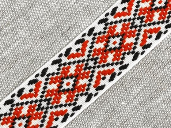 Фото 3 - ЛЕНТА ОТДЕЛОЧНАЯ ЖАККАРД белый/красный/чёрный 37мм.