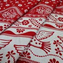 "Фото 3 - Льняная  ткань ""птицы"" красные (фон суровый)."