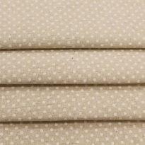 Льняная  ткань в мелкий  белый  горох (фон суровый)