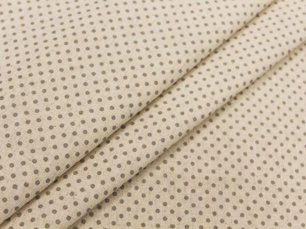 Фото 3 - Льняная ткань в мелкий серый горох (фон суровый).