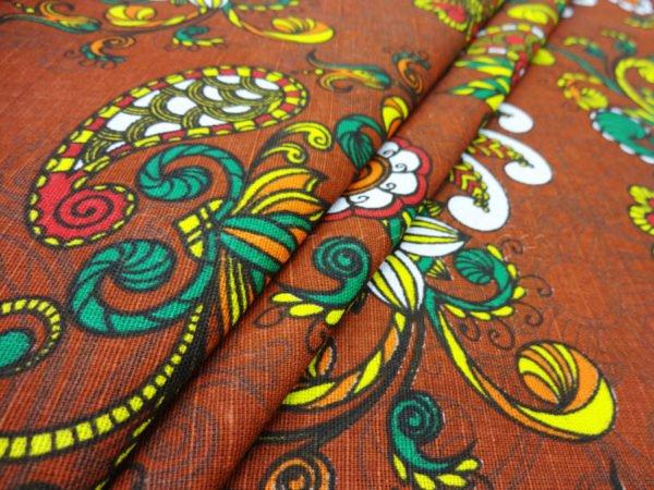 """Льняная ткань """"Восточный сад"""" (коричневая)"""
