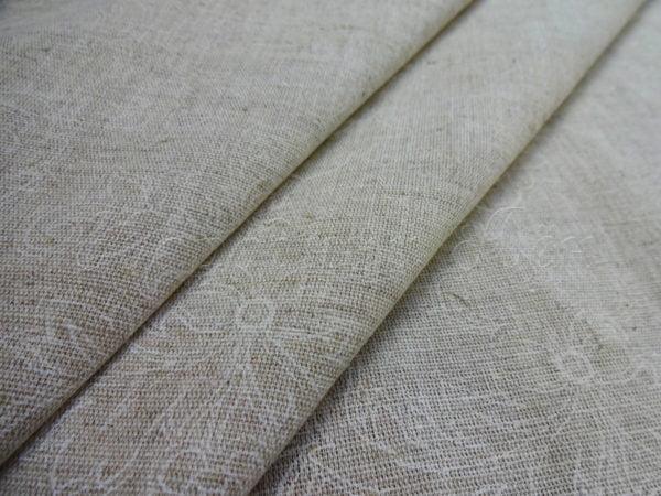 """Фото 3 - Ткань льняная """"Узор"""" белый на суровом ширина 220 см."""