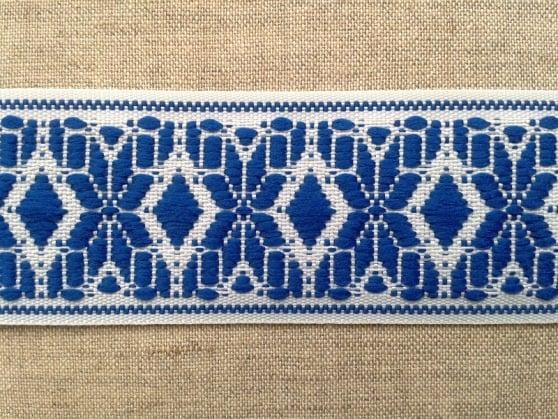 ЛЕНТА ОТДЕЛОЧНАЯ белый с голубым 37мм