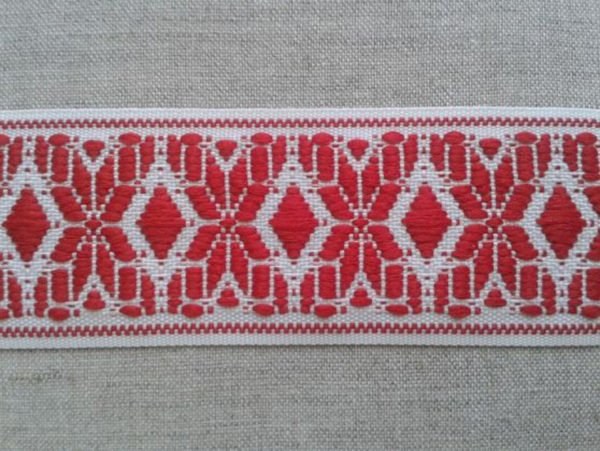 ЛЕНТА ОТДЕЛОЧНАЯ белый с красным 37мм