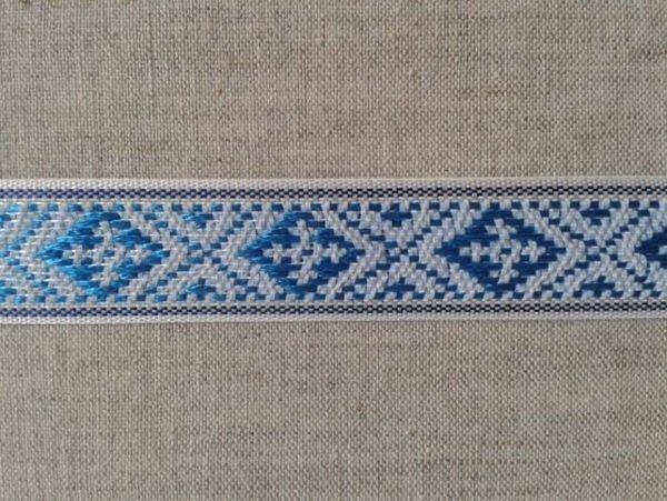 Фото 3 - ЛЕНТА ОТДЕЛОЧНАЯ голубой с синим на белом 20мм.