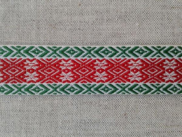 Фото 3 - ЛЕНТА ОТДЕЛОЧНАЯ зеленая с красным 20 мм.