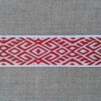 Фото 16 - ЛЕНТА ОТДЕЛОЧНАЯ ЖАККАРД белый с красным 22мм.