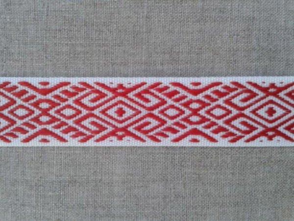Фото 3 - ЛЕНТА ОТДЕЛОЧНАЯ ЖАККАРД белый с красным 22мм.