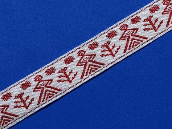 Фото 3 - ЛЕНТА ОТДЕЛОЧНАЯ ЖАККАРД белый с красным 27мм.