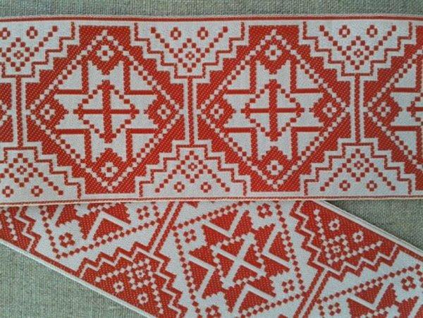 ЛЕНТА ОТДЕЛОЧНАЯ ЖАККАРД (красный с белым) 48мм