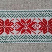 Фото 18 - ЛЕНТА ОТДЕЛОЧНАЯ ЖАККАРД, красный с зеленым, 50мм.