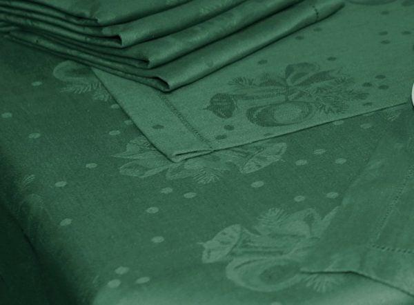 """Фото 3 - Ткань льняная """"Новогодняя"""" зелёная."""