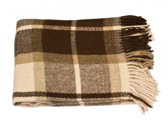 Фото 3 - Плед 100% шерсть бежево-коричневый.
