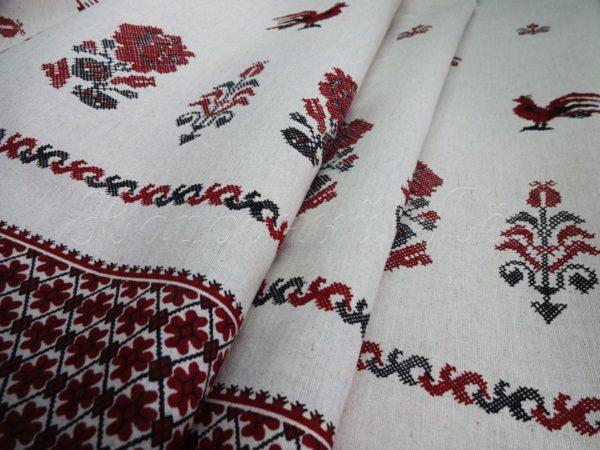 "Фото 3 - Льняная ткань ""петушки"", лен 50%."