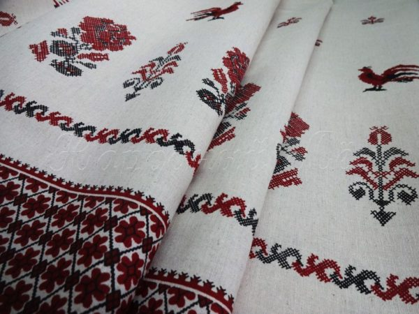 "Фото 3 - Льняная ткань ""петушки""."