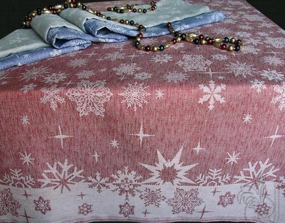 """Фото 3 - Скатерть """"Снежинка"""" красная жаккардовая п/лен."""