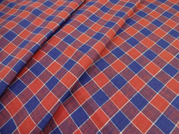 """Фото 3 - Сорочечная ткань из льна """"клетка красно-синяя""""."""