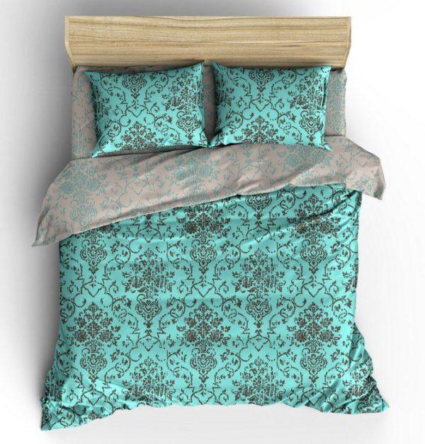 """Фото 3 - Комплект льняного  постельного белья """"Стефания"""", бирюза."""