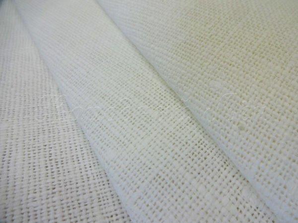Фото 3 - Ткань декоративная рогожка льняная, белая.