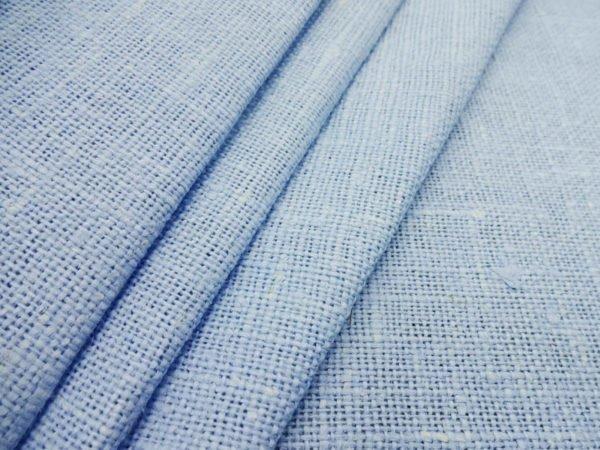 Ткань декоративная рогожка льняная, голубая