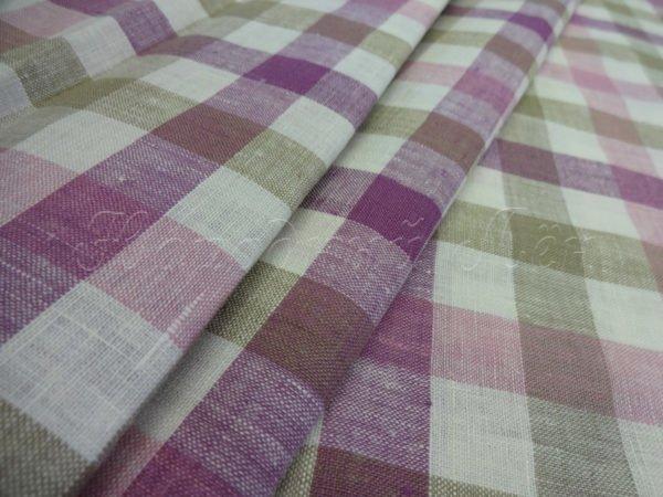 Фото 3 - Ткань для постельного белья в клетку шир. 220, лён 100%.