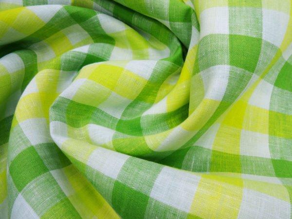 Фото 3 - Ткань для постельного белья в клетку ширина 180 см зелено-желтая.