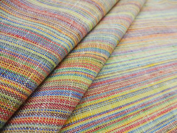 Фото 3 - Ткань костюмная, с цветными  просновками лен-100.