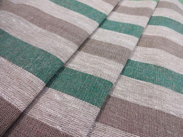 Ткань льняная декоративная в  полоску (серая /зеленая)
