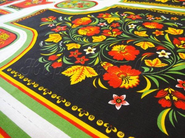 Фото 3 - Ткань льняная  купонная  цветы на  черном.
