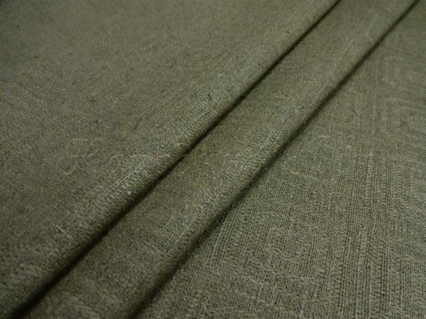 Фото 3 - Ткань льняная жаккардовая темно-оливковая.
