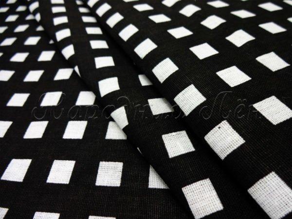 Ткань плательная белая клетка на черном