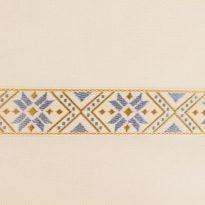 ЛЕНТА ОТДЕЛОЧНАЯ ЖАККАРД белый, голубой 32 мм