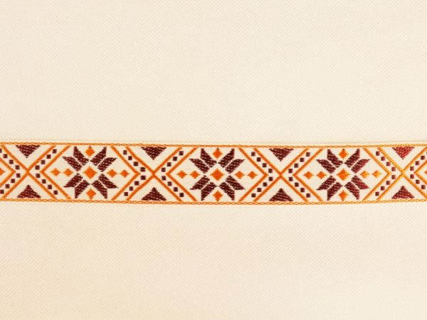 Фото 3 - ЛЕНТА ОТДЕЛОЧНАЯ ЖАККАРД белый, оранжевый, бордо 32мм.