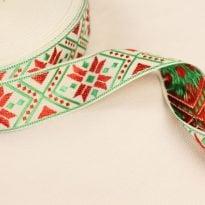 ЛЕНТА ОТДЕЛОЧНАЯ ЖАККАРД белый,красный, зеленый 32мм