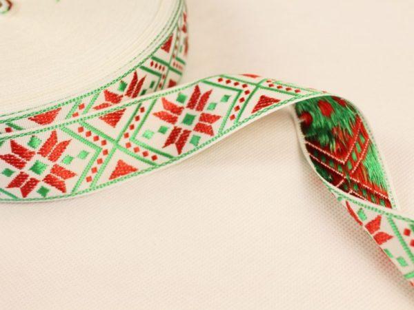 Фото 3 - ЛЕНТА ОТДЕЛОЧНАЯ ЖАККАРД белый,красный, зеленый 32мм.
