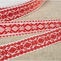 Фото 28 - ЛЕНТА ОТДЕЛОЧНАЯ ЖАККАРД белый с красным  20мм.