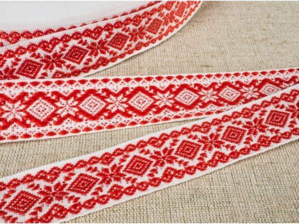 Фото 3 - ЛЕНТА ОТДЕЛОЧНАЯ ЖАККАРД белый с красным  20мм.