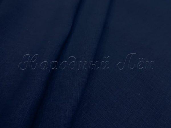 Фото 3 - Льняная ткань костюмная темно-синяя.