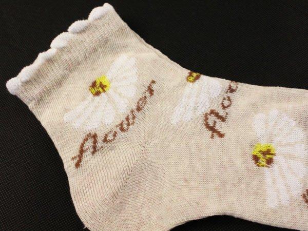Фото 4 - Носки женские лен гладкие укороченные  Ромашки.