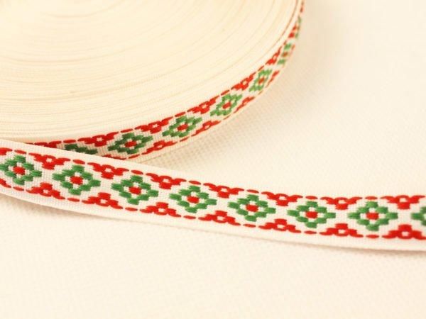 Фото 3 - Лента отделочная жаккардовая  белый/красный/зеленый 15мм.